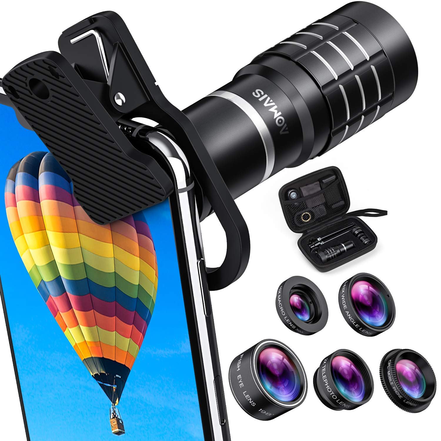 HD Cell Phone Camera Lens Kit 9 in 1, 18X Telephoto Lens, Wide Angle Lens, Macro Lens, Fisheye Lens, 2X Telephoto Lens, CPL in Travel Case, Compatible with iPhone Max X XS 8 7 6 Plus, Samsung & More by AOMAIS