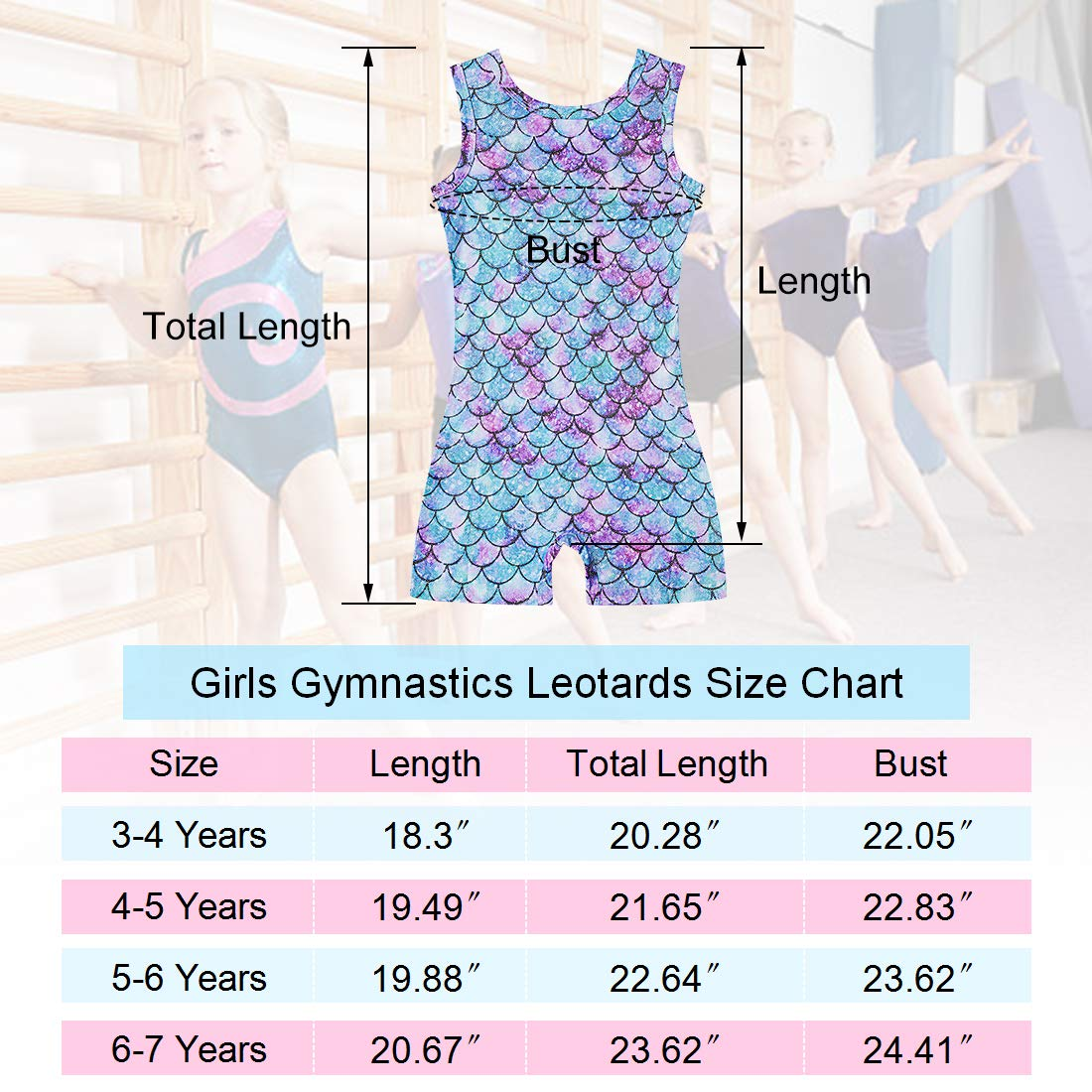Lovekider Kid Girls Gymnastics Leotard with Shorts Sparkly Tank Biketard Unitards for Dancing 3-7 Years Old