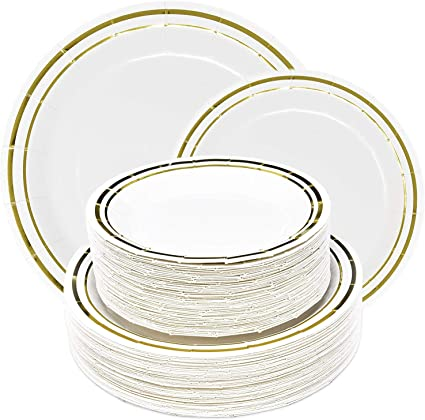 10/'/' Dinner Party Disposable Plastic Plates white With Gold Rim Wedding