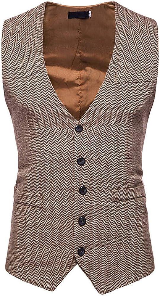 ♞ Homme Tweed Single-Breasted Classique Gilets Parti Formal Waistcoat Suit Vest M/âle Mode Vintage Col en V Business Casual Mariage sans Manches Veste de Costume Mariage Costume Formel