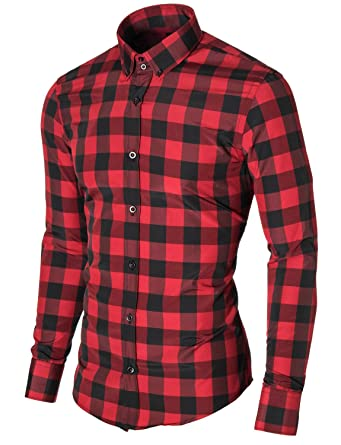 ddf87558ba96 MODERNO Mens Check Dress Shirt Slim Fit Casual Button Down Long Sleeve  Checkered Shirt (MOD1803LS) Black Red US XL at Amazon Men s Clothing store