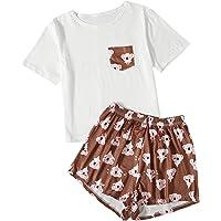 MakeMeChic Women's 2 Piece PJ Set Cute Cartoon Print Short Sleeve Tee and Shorts Sleepwear