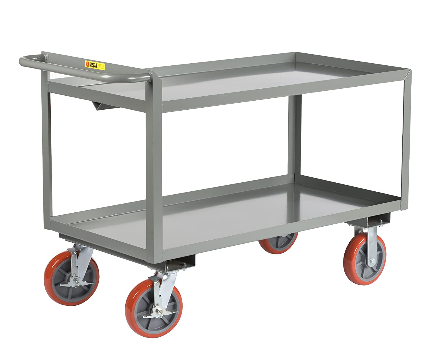 "Little Giant Gl-2436-8Pybk Lip Rand Shelves Merchandise Collector mit 8"" Polyurethane Wheels, 3600 Lbs Capacity, 36"" Length X 24"" Width X 32"" Height"