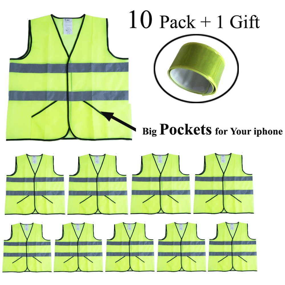 CIMC Yellow Reflective Safety Vest with Pockets, 10 Pack, Bright Construction Vest with Reflective Strips,Made from Breathable and Neon Yellow Mesh Fabric,High Visibility Vest for Working Outdoor