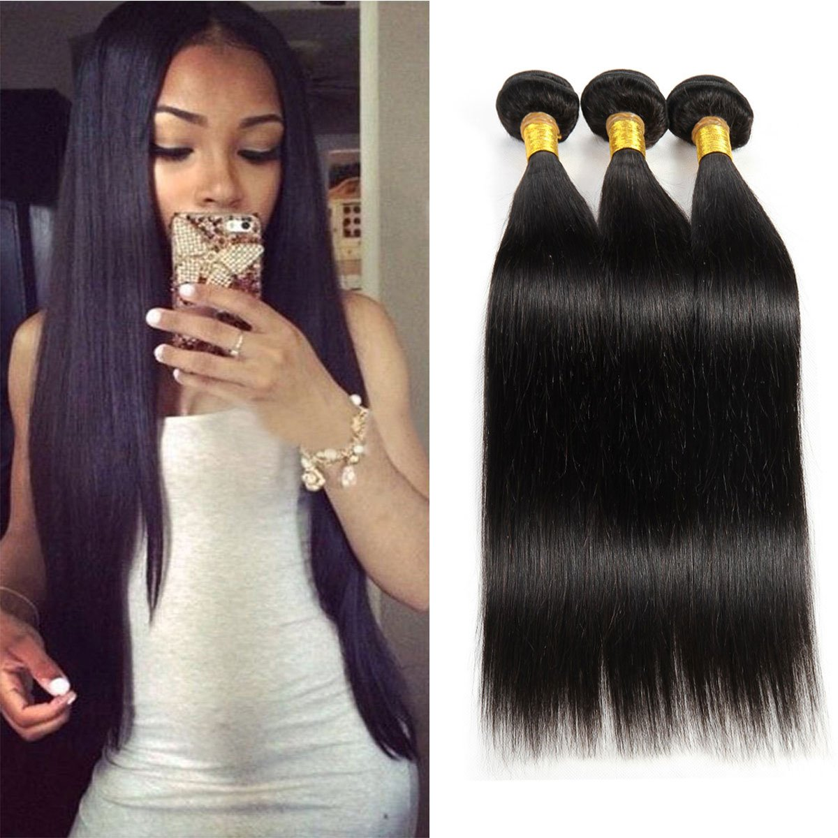 Amazon Brazilian Human Hair Weave Bundles Unprocessed Virgin