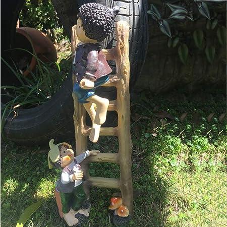 mlhk Estatua De Gnomo De Jardín Adorno De Jardín Colgante De Resina Resistente Al Agua para Decoración De Césped De Jardín Al Aire Libre O como Regalo para Niños,Ladder Elf:37 * 13cm: