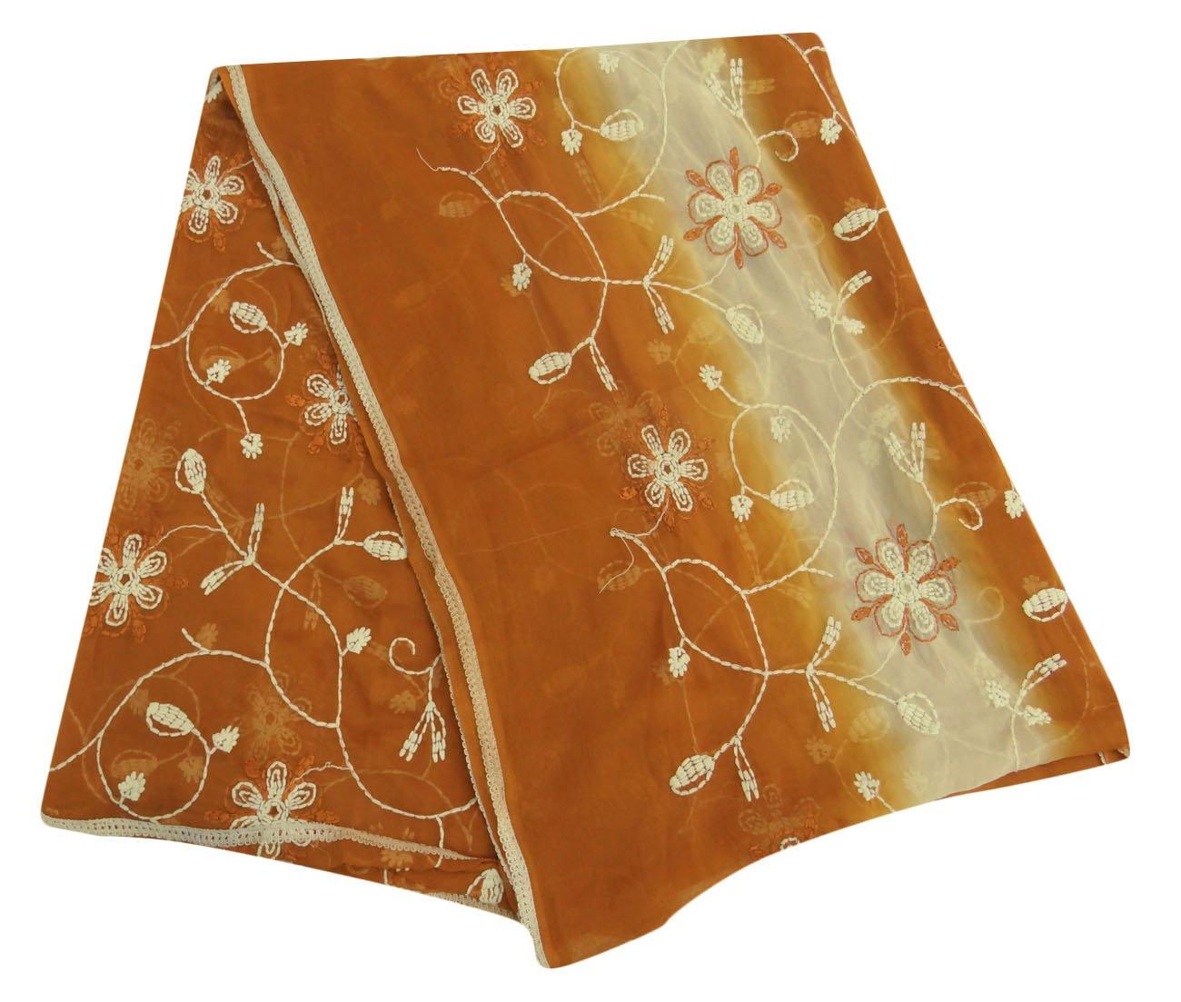Vintage Dupatta Long Indian Scarf Embroidered Fabric Antique Brown Veil Stole Vintageandyou