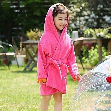 DDOQ Suave Dibujos Animados niños Dinosaurio Albornoz Capa de baño Toalla bebé Traje de baño con Capucha Transpirable Absorbente Albornoz (Color : Pink, ...