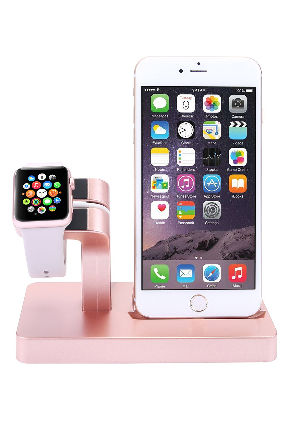 Apple Watch Stand, iPhone Docking Station, 2-in-1 Multi-Charging Station Hub for Apple Watch Series and All Smart Phone