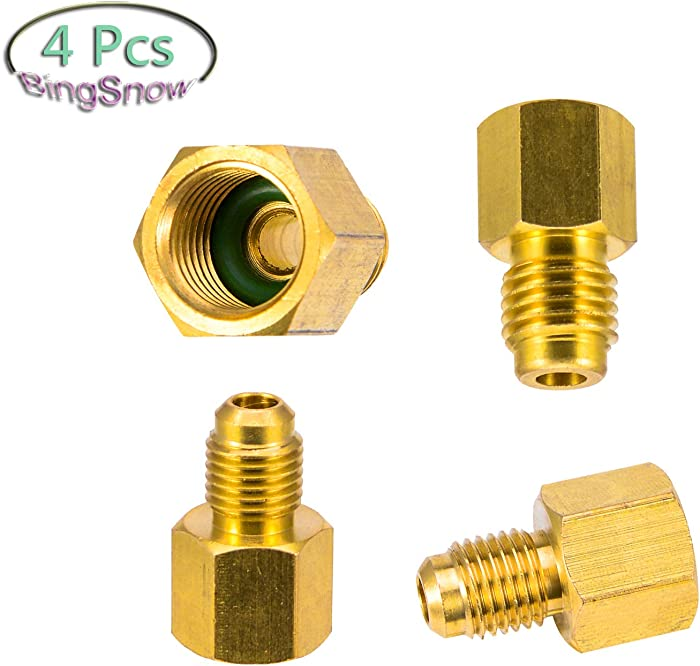 "BingSnow 4 Pcs R134a Adapter for 6014 Vacuum Pump Adapter 1/4"" Flare Female to 1/2"" Acme Male and 6015 R134a Refrigerant Tank Adapter 1/2"" Female Acme to 1/4"" Male Flare"