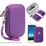 Passion Purple Portable Photo Printer Case for HP Sprocket Portable Photo Printer, Polaroid Zip Mobile Printer, Lifeprint 2x3 Photo and Video Printer, Mesh Pocket for Photo Paper and Cable