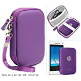 Purple Travel Case for HP Sprocket Portable Photo Printer, Polaroid ZIP Mobile Printer and Lifeprint Photo & Video Printer, with Pouch for Photo Paper and Cable (Purple)