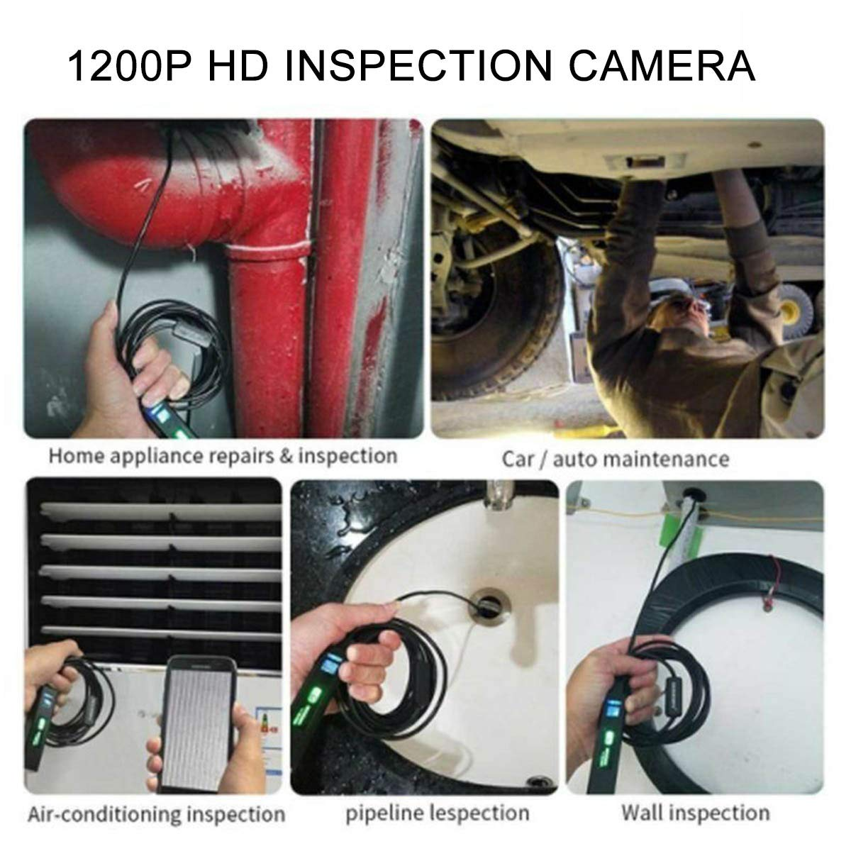 Android PC MASO 1M WiFi Inspection Camera 8mm Lens Wireless Endoscope 2.0 Megapixels 720P HD IP67 Waterproof with 6 LED Light for iPhone iPad
