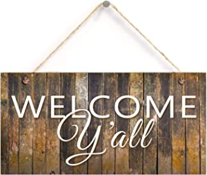"Welcome Y'all Sign, Old Barn Wood Design, Rustic Decor, 5"" X 10"" Sign, Housewarming Gift, Southern Hospitality Sign, Door Hanging Sign"