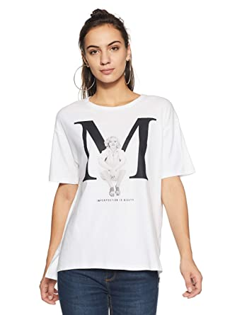 3a6976089 Forever 21 Women's Marilyn Monroe Graphic Tee Logo 215325, Medium,  White/Black: Amazon.in: Clothing & Accessories