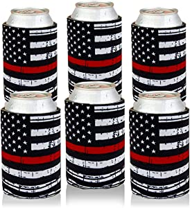 Can Cooler Sleeves USA Thin Red Line Flag Can Coozies Bulk Drink Beer Can Insulator Covers Collapsible Can Wraps 6Pc