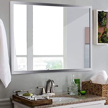 Tangkula Bathroom Mirror Wall Mounted, Simple Modern Rectangular Stainless  Steel Frame Mirror, Aluminum Backed Floating Glass Bedroom Hangs Horizontal  ...