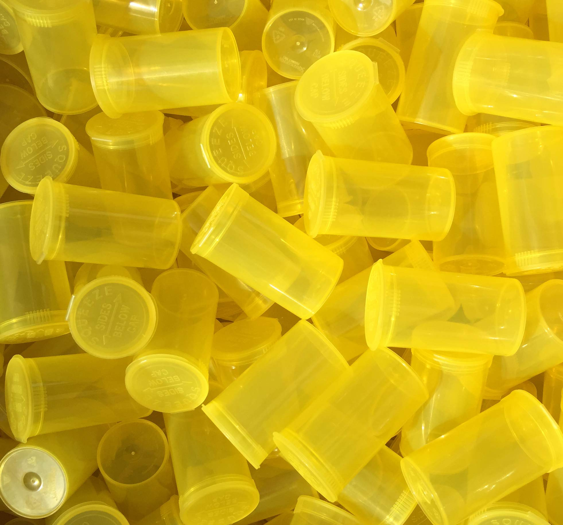 19 DRAM POP TOP Bottles Qty CASE Size Count Squeeze top Rx Pill Bottles Prescription Crafts Coins Storage Medicine 420 Containers Made in USA (50 PCS, Yellow - Transparent) by Squeezetops®