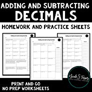 5.NBT.B.7 Adding and Subtracting Decimals Homework Worksheets