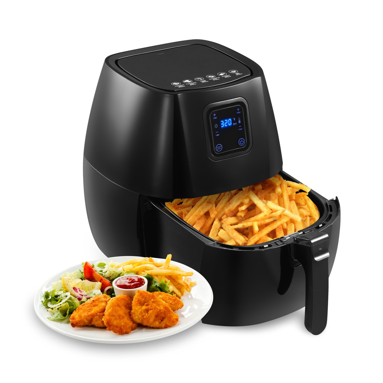 KUPPET 4.76QT Digital Air Fryer-8-IN-1 Hot/Deep Fryer with Basket-Rapid Air Technology For Less or No Oil-Timer Temperature Touch Control -Included 6 Cooking Presets & Recipe Book-Black