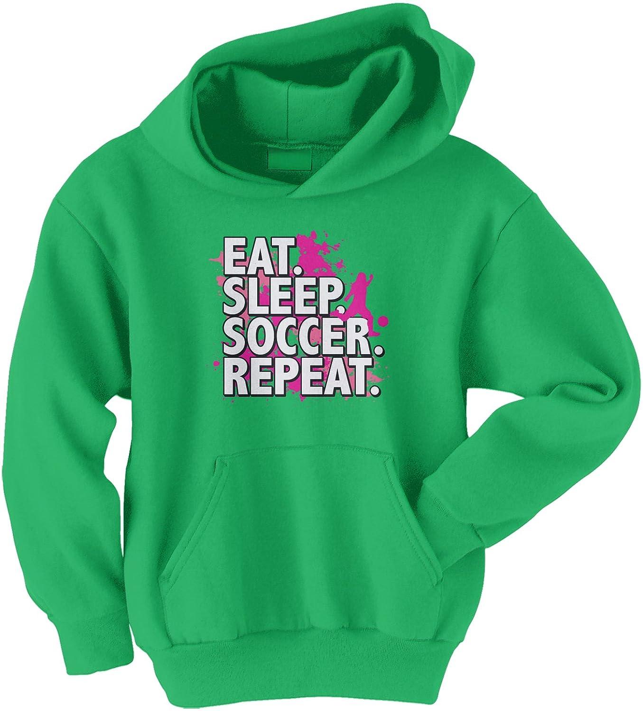 Threadrock Big Girls' Eat Sleep Soccer Repeat Youth Hoodie Sweatshirt TK00339-04
