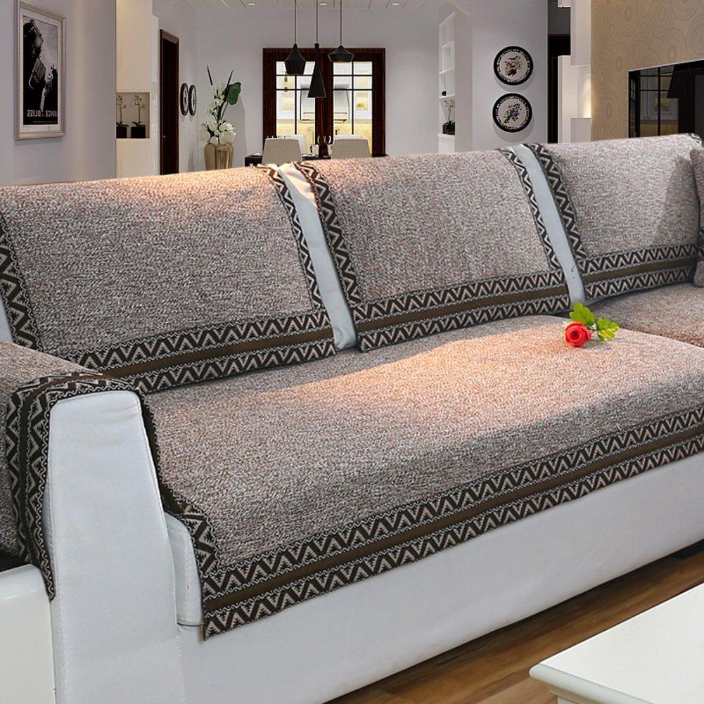 Z-one Sofa Abdeckung Retro Dekoration Sofa Überwurf Baumwolle Anti-rutsch Schmutzabweisend Kissen beschützer Für L förmige- Couch Schnitt-grau 110x210cm(43x83inch) B07L3T5JTR Sofa-überwürfe