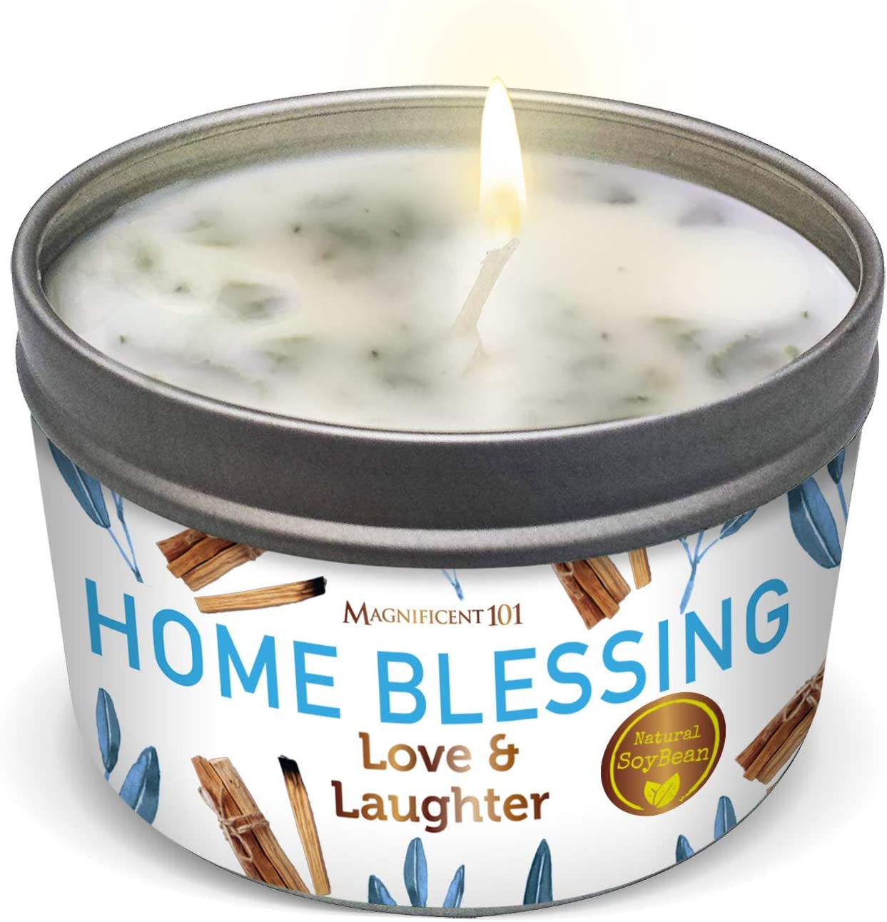 Home Blessing Aromatherapy Candle for Love and Laughter - Sage, Bergamot, Sandalwood Scented Natural Soybean Wax Tin Candle for Purification and Chakra Healing Under $20