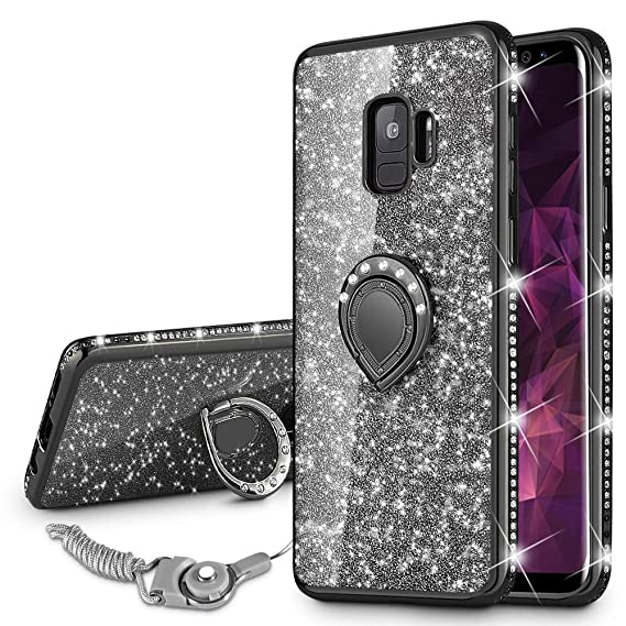 promo code d85ea f5eb9 VEGO Galaxy S9 Case Glitter Bling Diamond Case with Kickstand Rhinestone  Bumper for Girls Women Sparkly Luxury Slim Soft Protective Case with Ring  ...