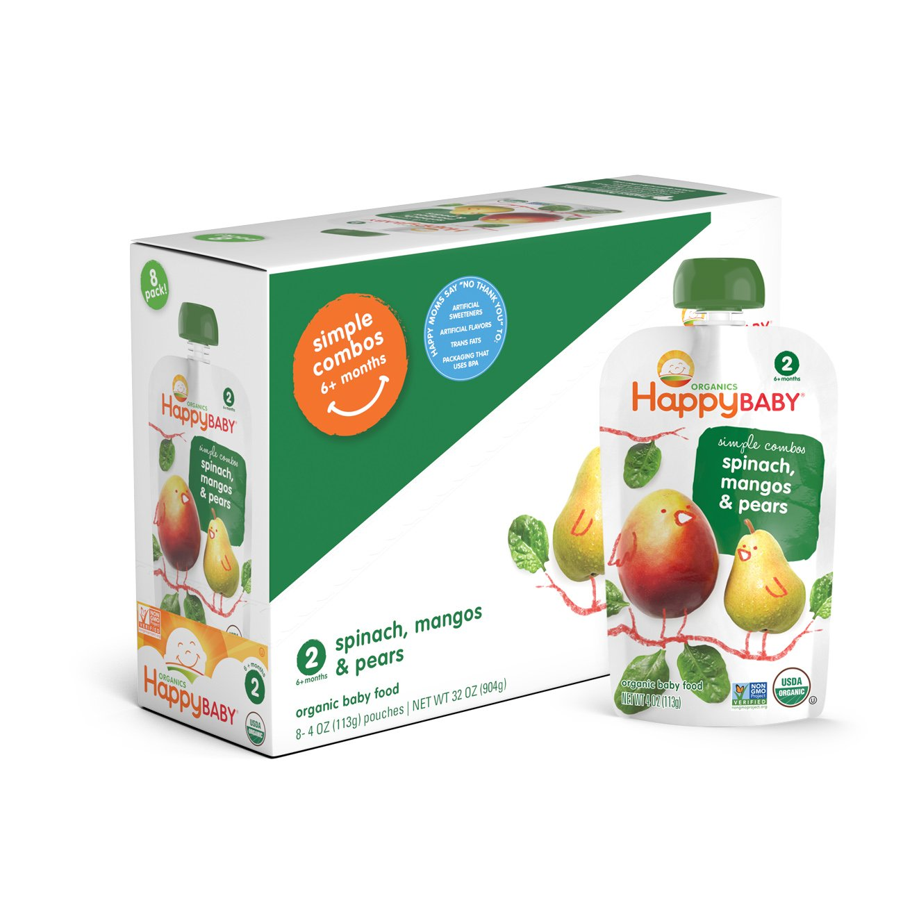 Happy Baby Organic Stage 2 Baby Food Simple Combos Pear Mango Spinach, 4 Ounce Pouch (Pack of 8) Resealable Baby Food Pouches, Fruit & Veggie Puree, Organic Non-GMO Gluten Free Kosher