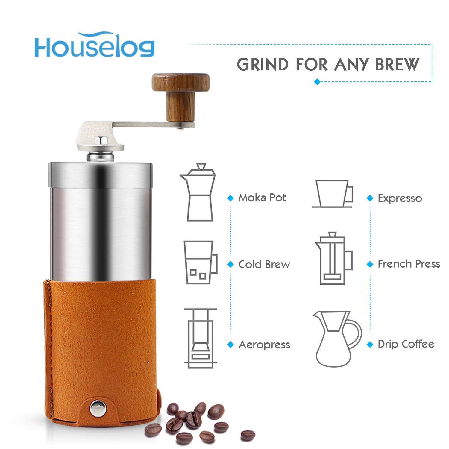 2018 New Portable Manual Coffee Grinder Set Professional Conical Ceramic Burrs Stainless Steel Grinder Easy to Clean for Home Travel Outdoor by RioRand (Image #2)