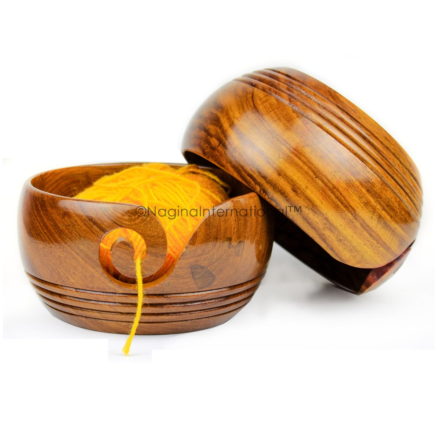 Nagina International Solid Teak Wood Crafted Wooden Yarn Ball Storage Bowl with Spiral Yarn Dispenser & Decorative Rings   Knitting Crochet Accessories (Rosewood, Large)