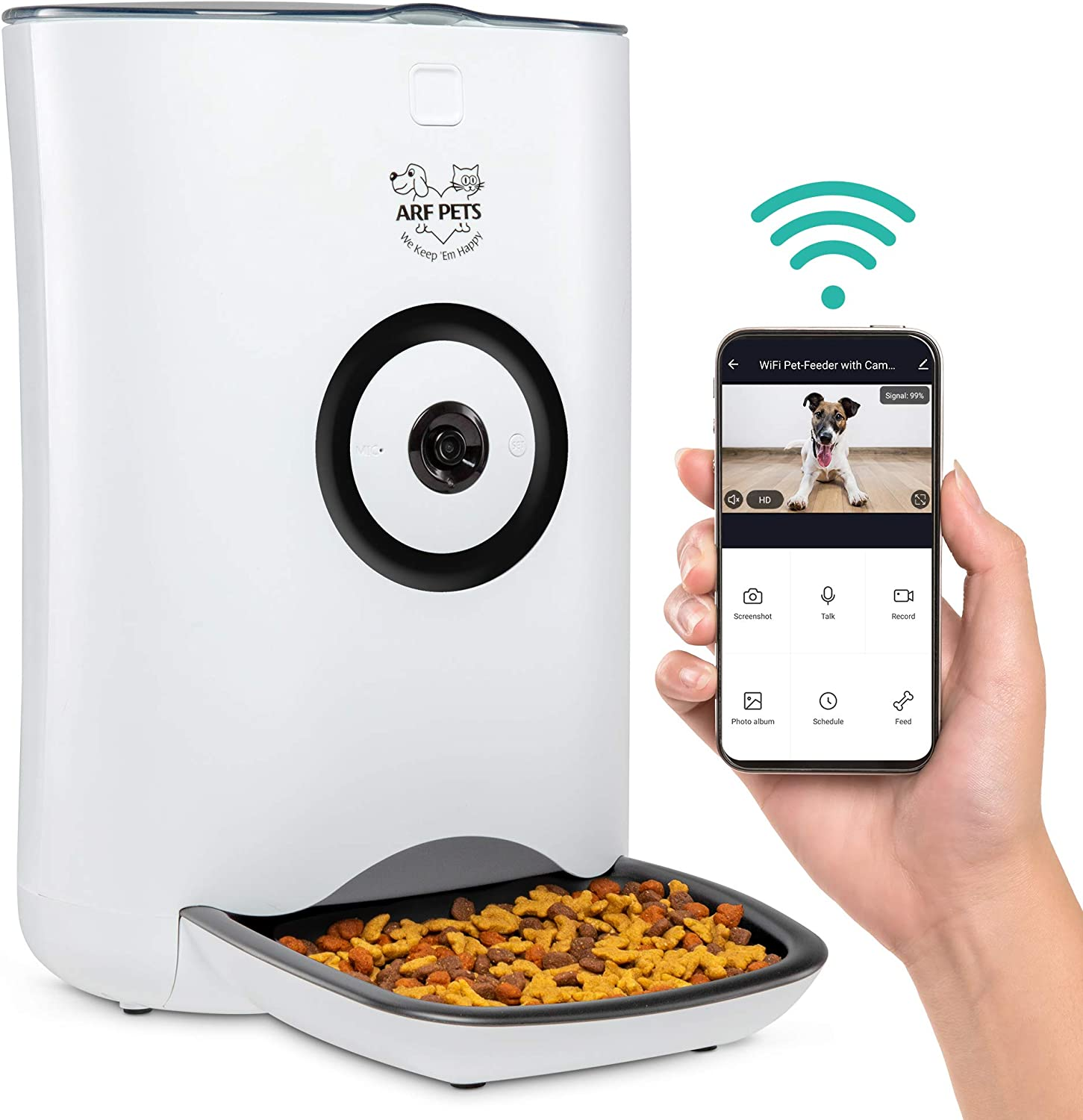 Arf Pets Smart Automatic Pet Feeder with Wi-Fi, HD Camera with Voice and Video Recording, Programmable Food Dispenser for Dogs & Cats with Easy App-Controlled, 20-Cup Capacity, for iPhone & Android