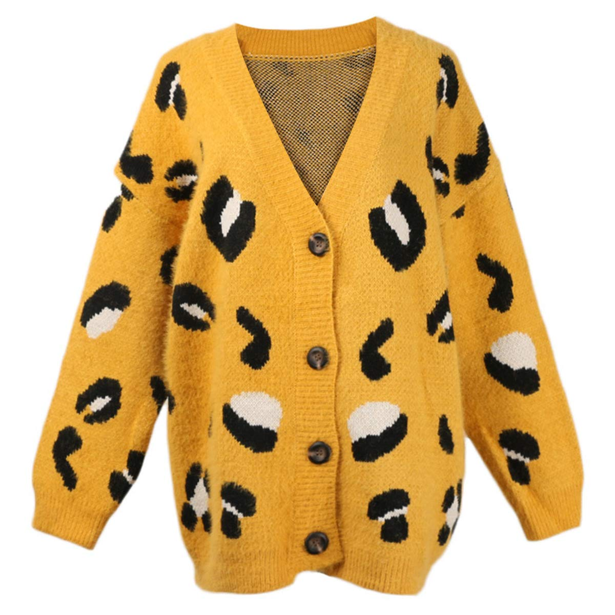 Yellow Leopard Print V Neck Button Sweater Coat Women Knit Long Sleeve Cardigan