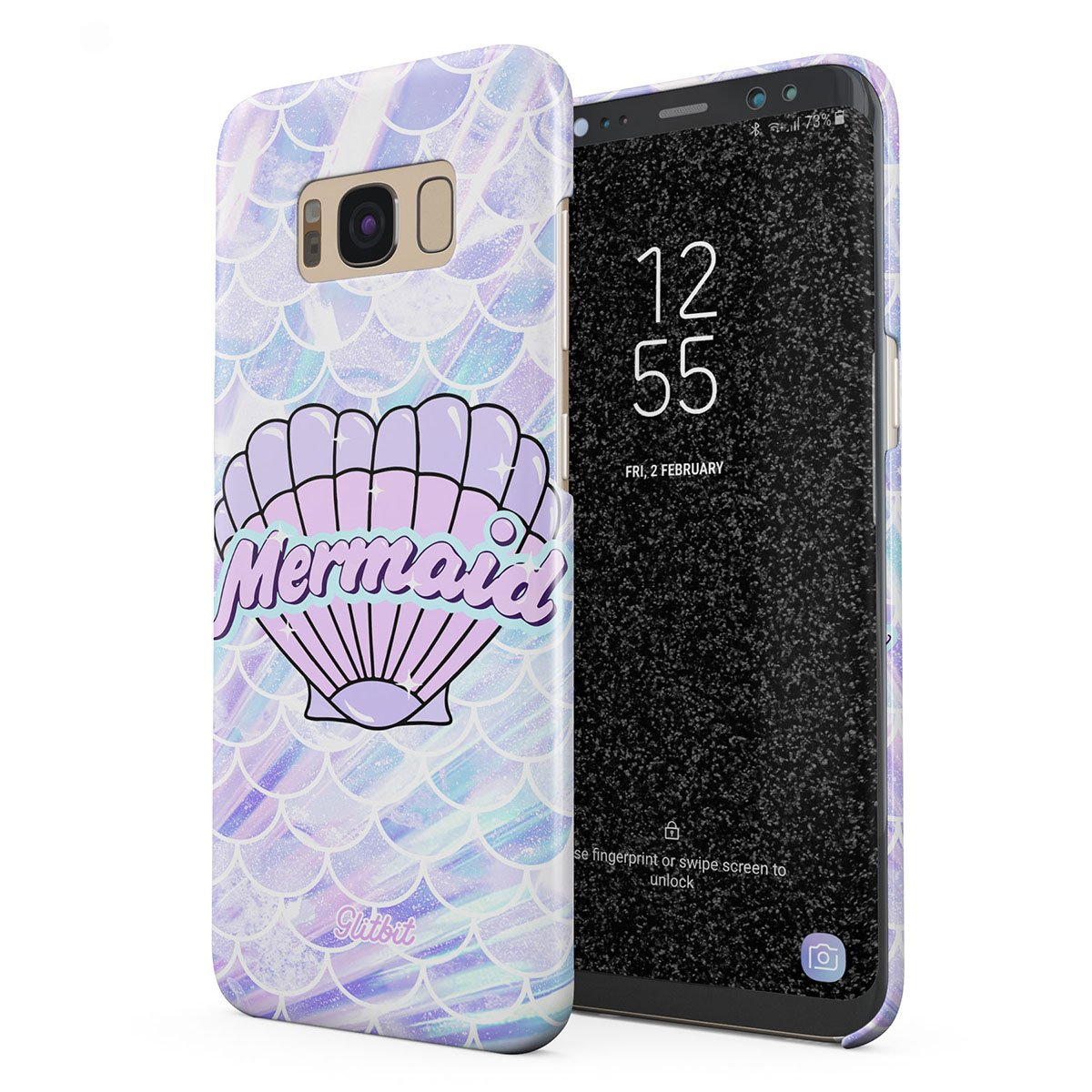 Glitbit Compatible with Samsung Galaxy S8 Case Mermaid Seashell Paua Abalone Queen Princess Ocean Sea Holographic Purple Aesthetic Thin Design Durable Hard Shell Plastic Protective Case Cover by Glitbit