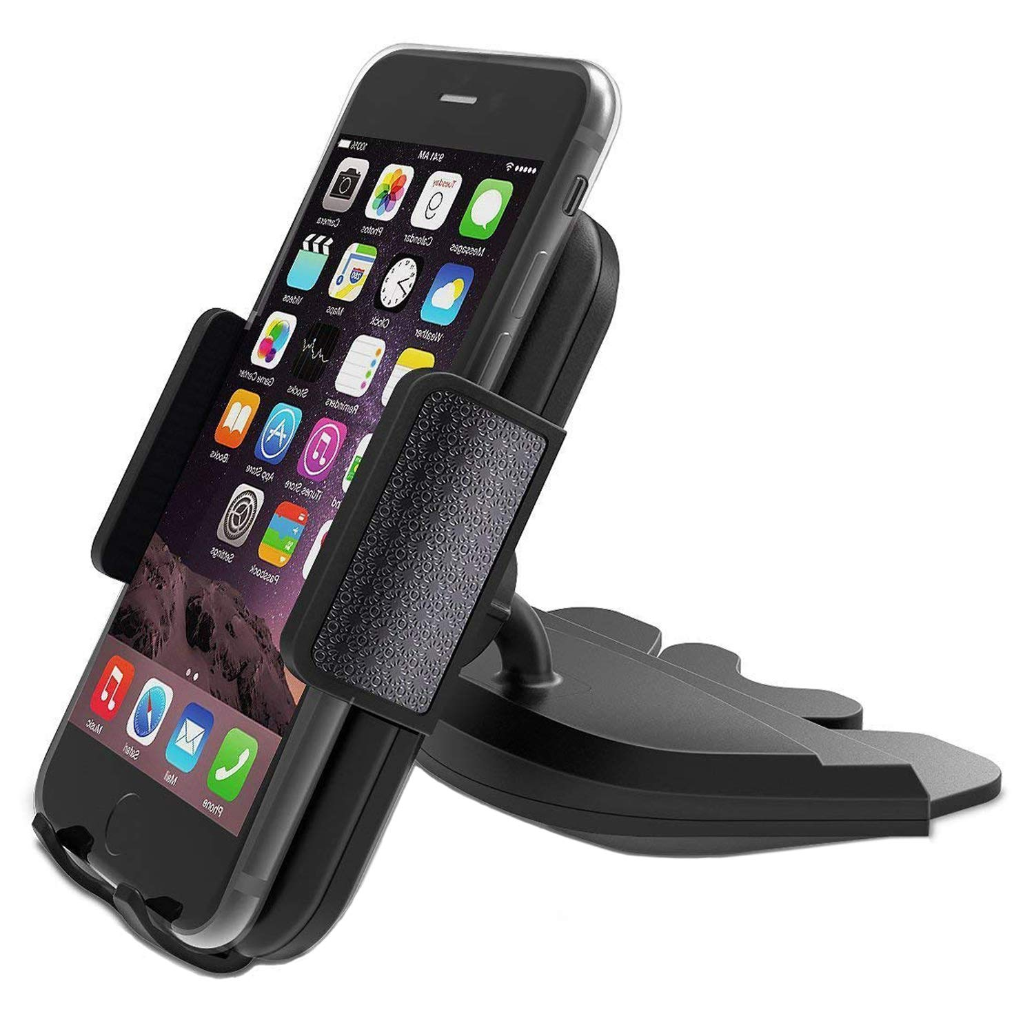 CD Slot Car Phone Mount Holder - Universal CD Slot Phone Holder for Car Compatible iPhone X 8 Plus 7 Plus 6s 6 Plus 5S Samsung Galaxy S5 S6 S7 S8 S9 S9+ Google Huawei HTC etc - Black