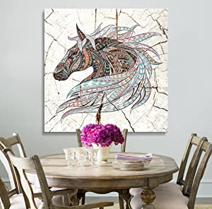 wall26 - Square Canvas Wall Art - Colorful Tribal Horse Wood Effect Canvas - Giclee Print Gallery Wrap Modern Home Decor Ready to Hang - 24x24 inches