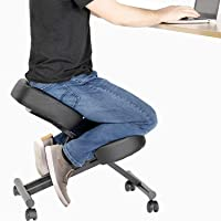 DRAGONN by VIVO Ergonomic Kneeling Chair, Adjustable Stool for Home and Office - Improve Your Posture with an Angled…