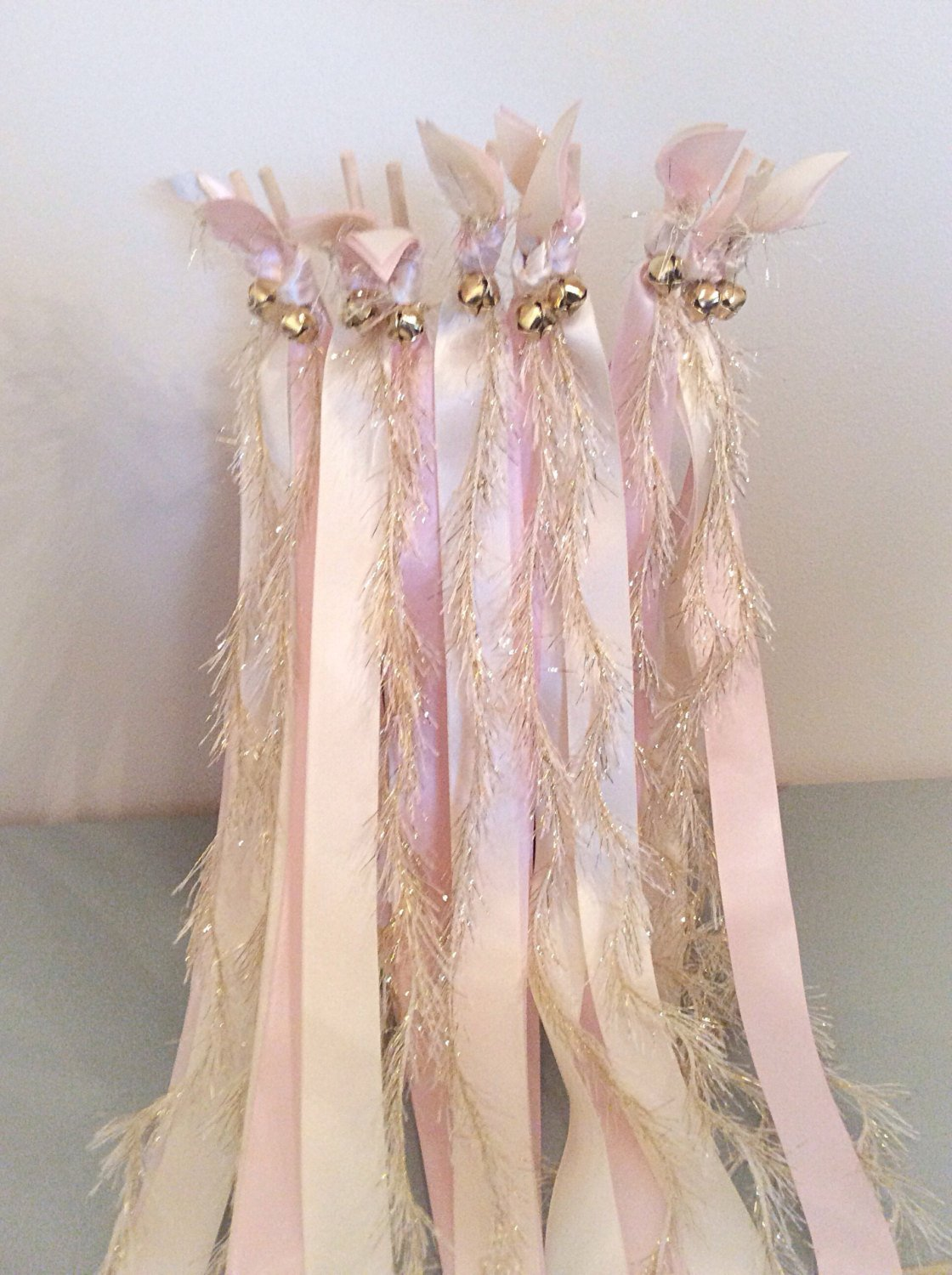 100 wedding wands ivory and light pink send off ribbon streamers with gold frayed ribbon