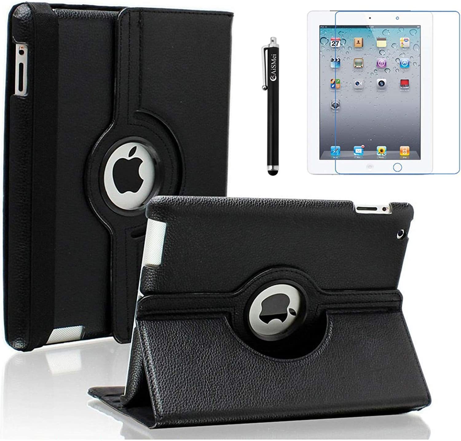AiSMei Case for iPad 4 (2012), Rotating Stand Case Cover for 9.7-inch Apple iPad A1395, A1396, A1397, A1403, A1416, A1430, A1458, A1459, A1460, Bonus Stylus + Film, Black
