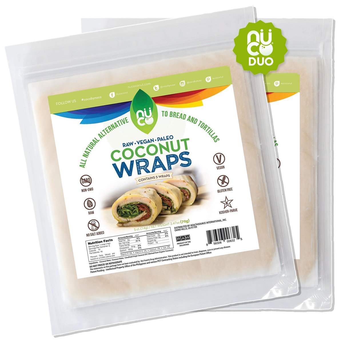 NUCO All-Natural Paleo Gluten-Free Vegan Coconut Wraps (Non-Gmo), 10 Count (Two Packs of Five Wraps Each)