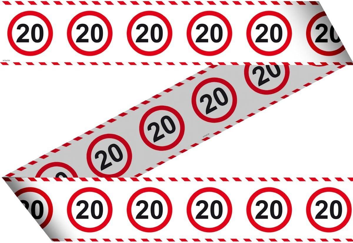 16 rot//wei/ß Folat 28416 Party Absperrband Verkehrsschild-15 m-Zahl