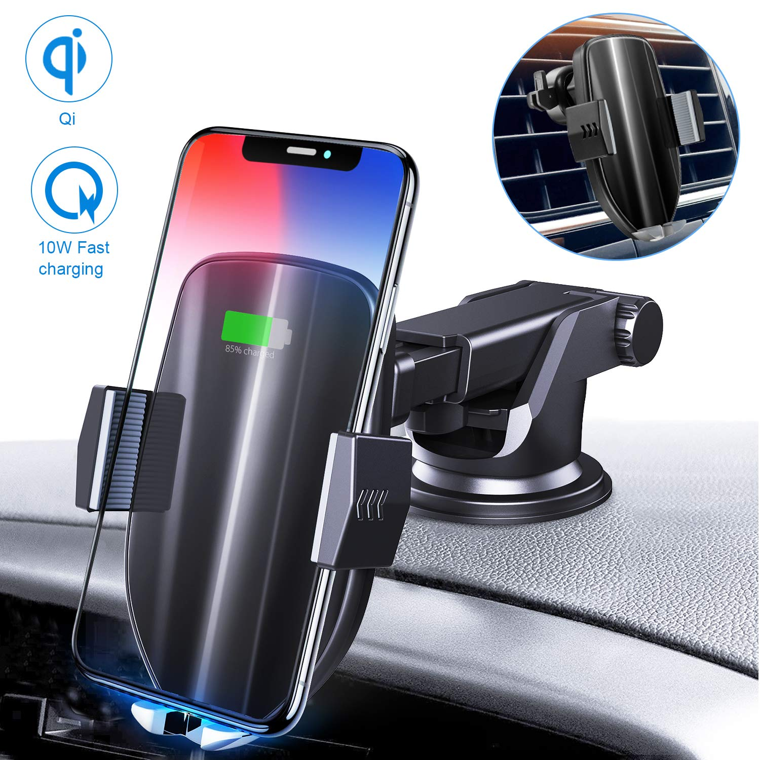 Moskee Wireless Car Charger Mount,Automatic Clamping,Qi 10W 7.5W Fast Charging,Air Vent Phone Holder Compatible with iPhone Xs/Xs Max/XR/X/8/8 Plus, Miyababy Samsung Galaxy S10/S10+/S9/S9+/S8/S8+ by Moskee