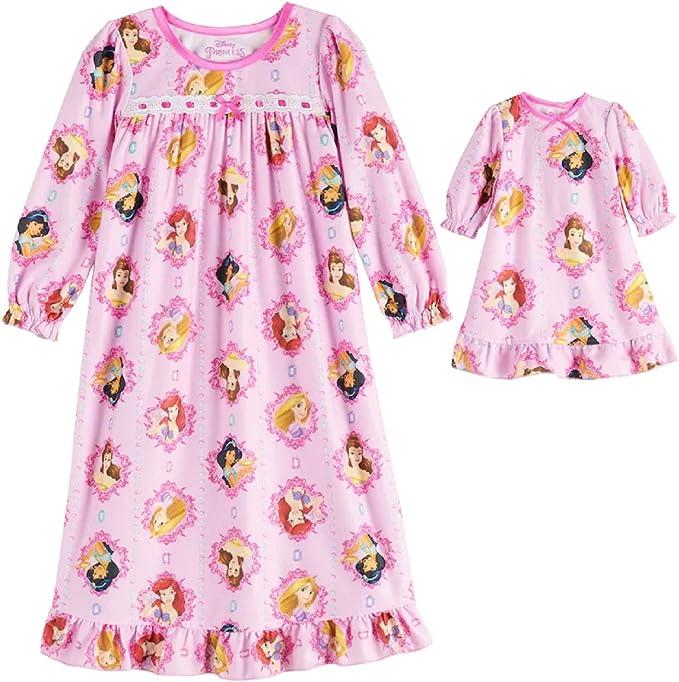 Disney Princess Girls Ariel White Rapunzel /& Belle Nightgown /& Doll Gown 2T