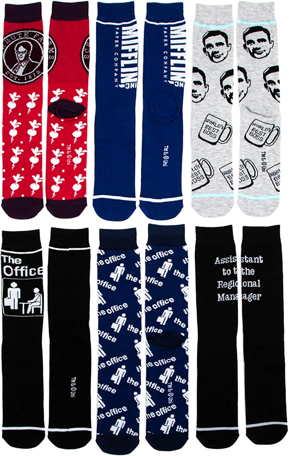 The Office 6 Pair Mens Crew Socks