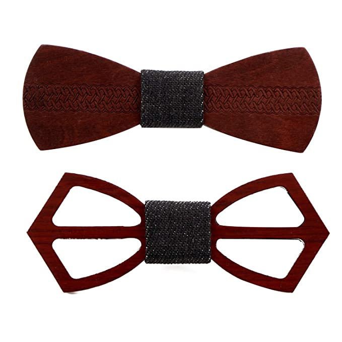 af6566eabfbe Amazon.com: Men's Wooden Bow Tie Natural Wood Bow Ties Handmade Adjustable  Bowtie for Anniversary Wedding Party Prom Christmas Gifts: Clothing