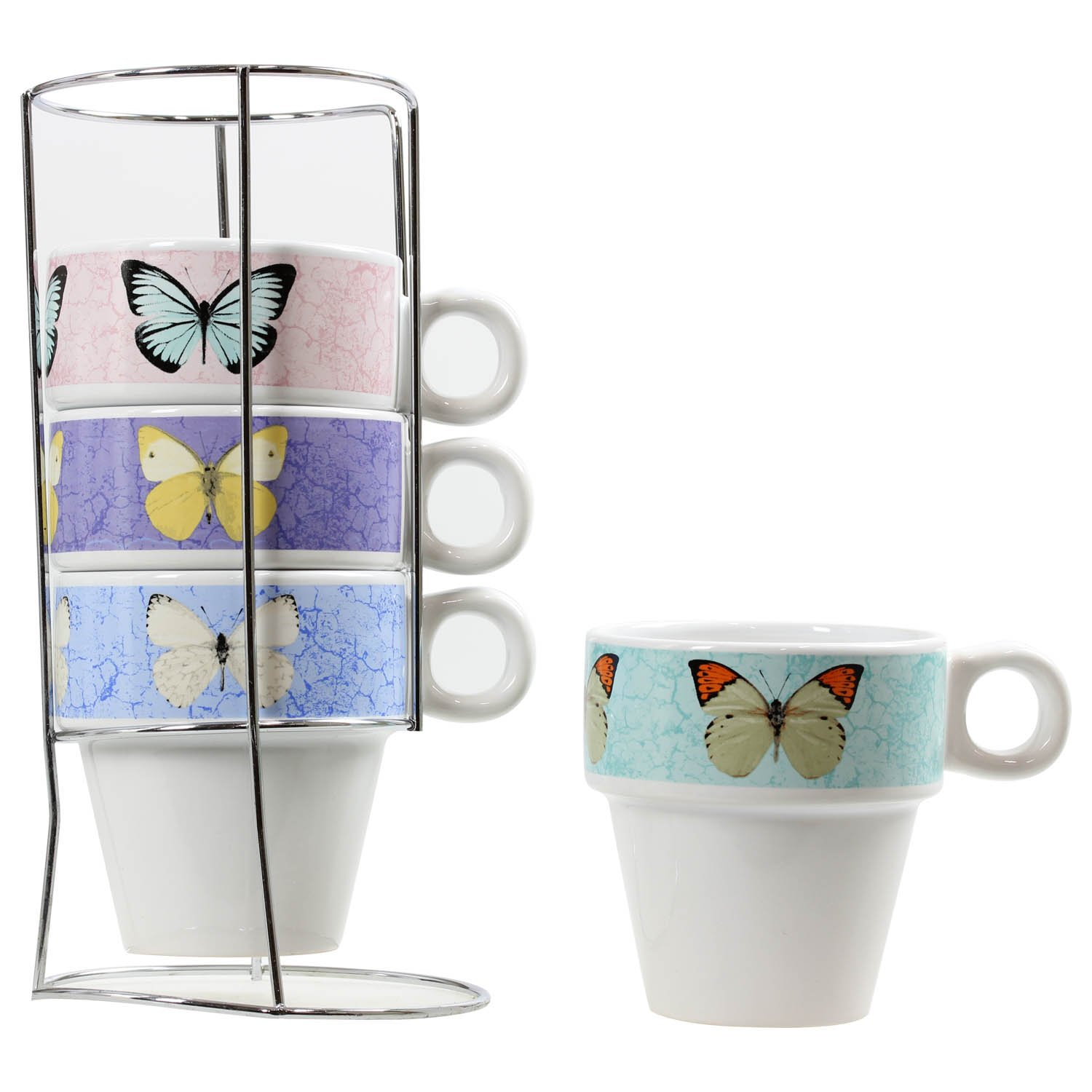 4 Butterfly Design Stacking Tea Coffee Tea Cups Porcelain Mugs In Metal Holder Rsw