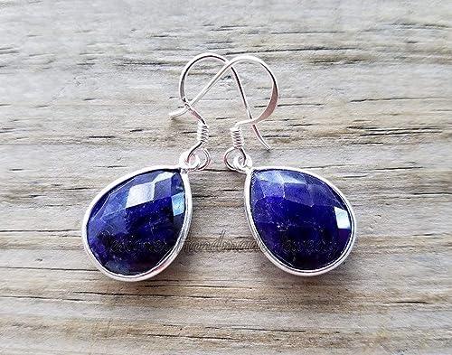Handmade, Shaded Blue Sapphires Earrings Sapphire drop earings Silver Earrings,925 Sterling Silver September Birthstone Virgo and Libra