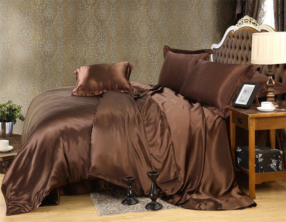 Fenesta Décor Super soft & Silky Satin 8Cs Bedding Set (4PCs Sheet Set, 3PCs Comforter Set and Pleated Bed Skirt, Chocolate , Queen , Drop length 14 Inches)