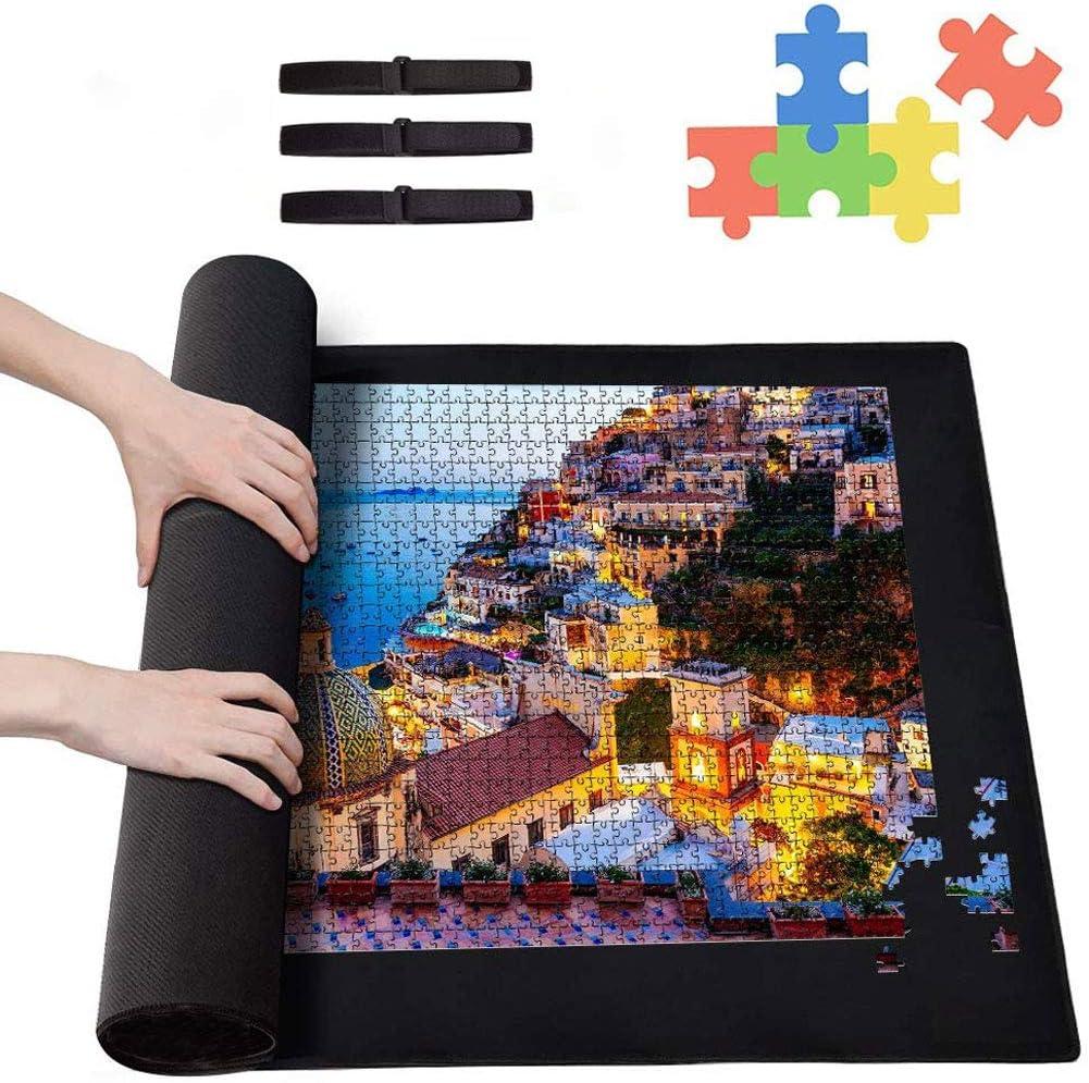 Puzzle Set-Palm Tree Beach,1000 Piece Jigsaw Puzzle,Puzzle Roll Jigsaw Storage Felt Mat,3 Magic Belts,Educational Intellectual Decompressing Fun Family Game