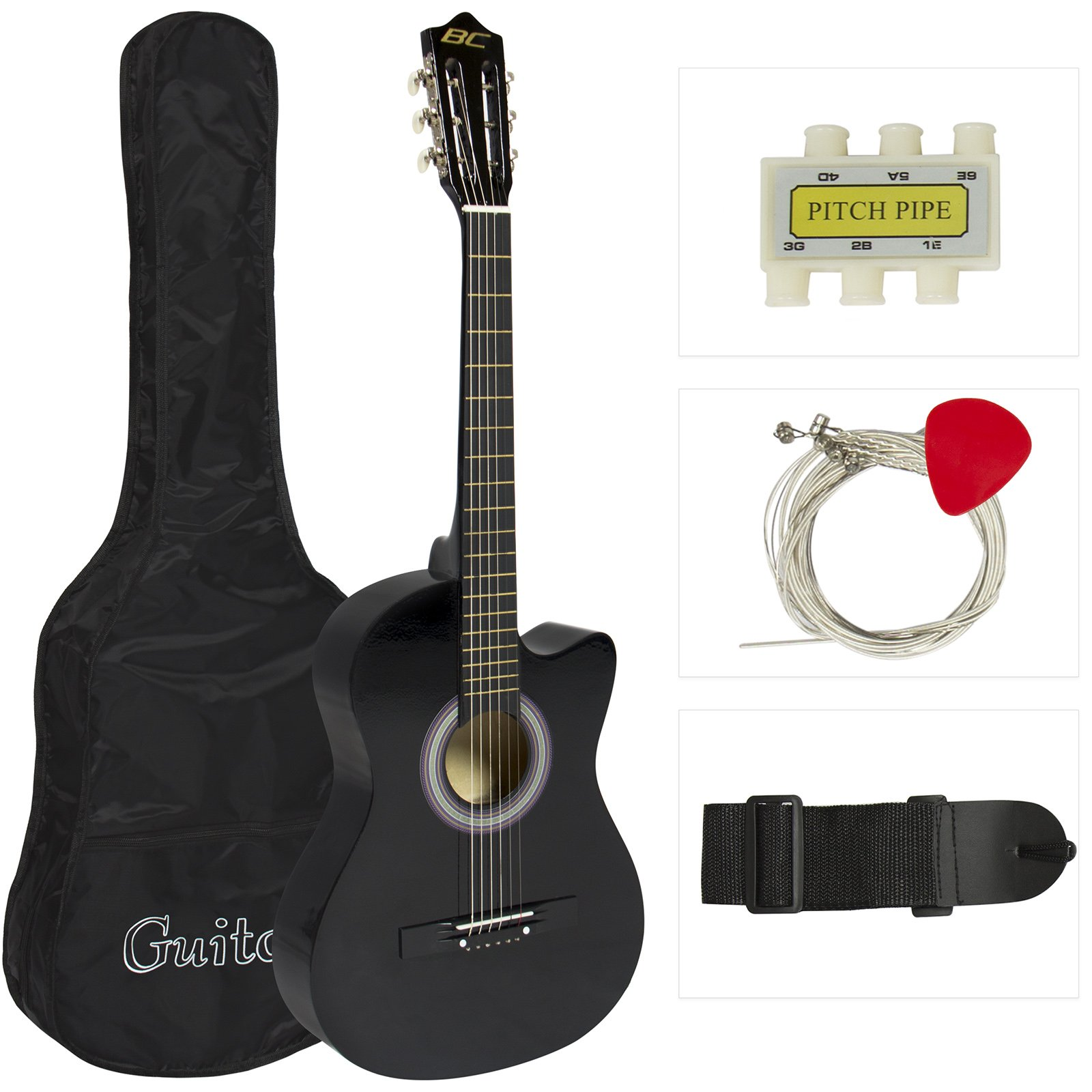 38in Beginner Acoustic Cutaway Guitar Set w/Extra Strings, Case, Strap, Tuner, and Pick - Black by Aromzen